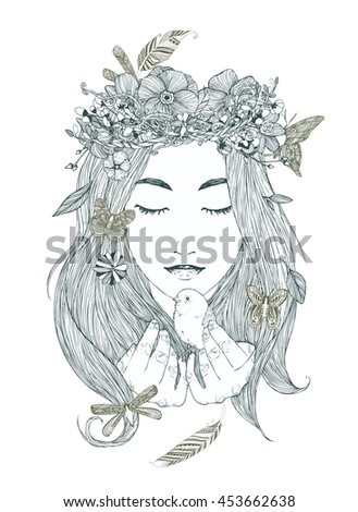 Cute dreaming girl, princess with wreath, flowers, leaves, bird in hands, butterflies in hair,... Adult coloring book page, black and white pattern. Hand drawn vector illustration, separated elements.