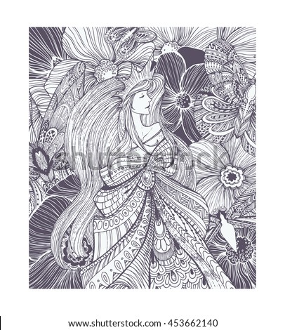 Cute dreaming queen, princess with flowers, leaves, butterflies, long hair ... Adult coloring book page, black and white pattern. Hand drawn vector illustration, separated elements under mask. - stock vector