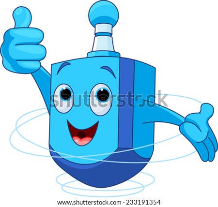 Cute Dreidel Character wish you a Happy Hanukkah! - stock vector