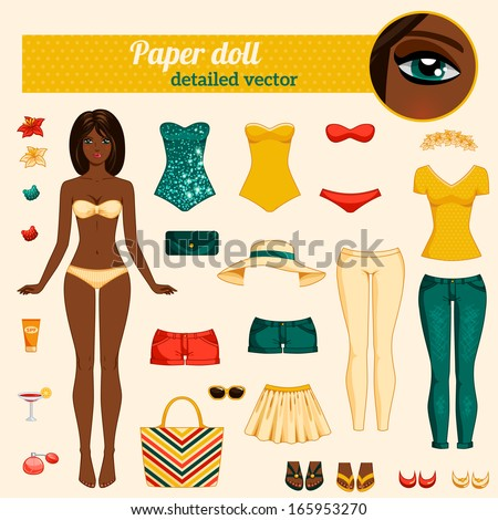 Cute dress up paper doll. Body template, outfit and accessories. Vector detailed illustration. African American ethic. Brunette with long hair. Cut and play. Yellow, red and turquoise colors. - stock vector