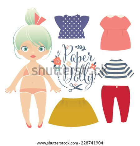 Cute dress up paper doll. Vector body template, outfit and accessories - stock vector
