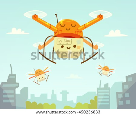 Cute drone and package. Drone delivery. Vector illustration.
