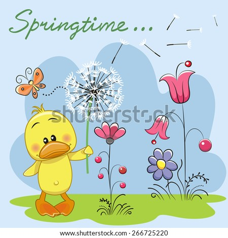 Cute Duck with dandelion on a meadow  - stock vector