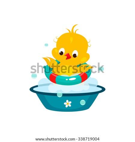 Cute Duckling in Bathroom. Colourful Vector Illustration - stock vector