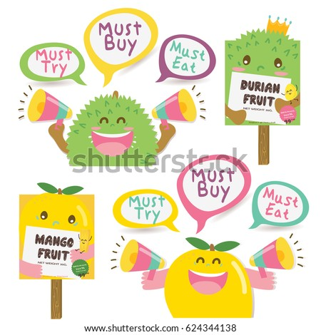 Cute Durian and Mango Dialog box / Signboard