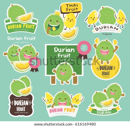 Cute Durian Vector 8 / Cute Durian Vector Packaging Design labels / Mascot Vector Design