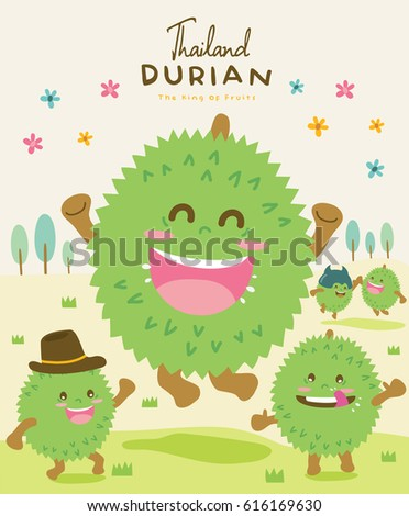 Cute Durian Vector illustration
