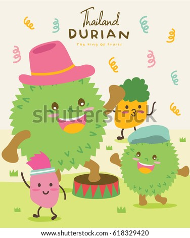 Cute Durian Vector illustration 5