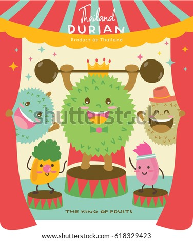 Cute Durian Vector illustration 6 / Durian Vector Show Fun