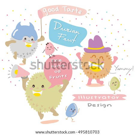 Cute Durian Vector 4  Mascot Vector Design