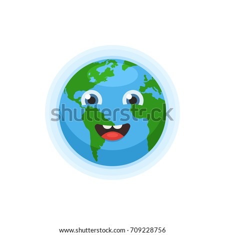 Cute earth character world map globe stock vector 709228756 world map globe with smiley face icon happy earth day concept gumiabroncs Image collections