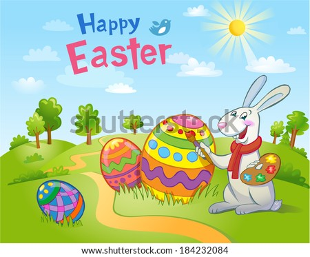 Cute Easter Bunny painting an egg  - stock vector