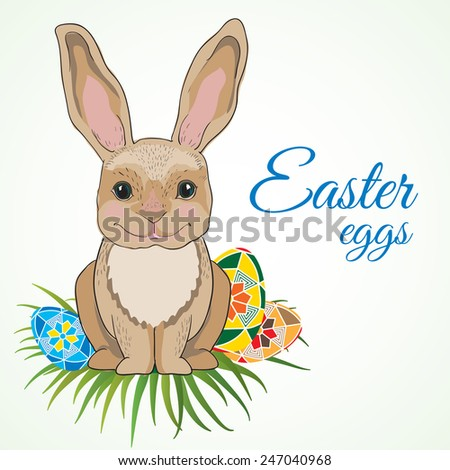 Cute easter bunny with big ears on green grass hiding eggs isolated on white background