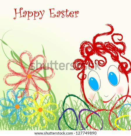 Cute Easter card. Vector illustration. - stock vector