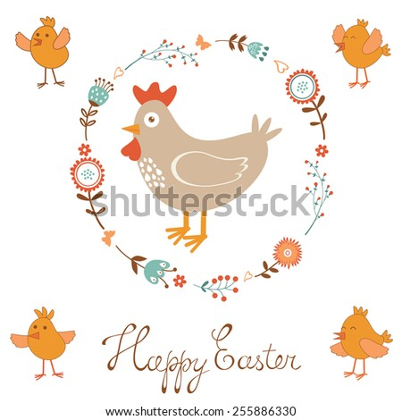 Cute Easter card with chicken and chicks. Vector illustration - stock vector