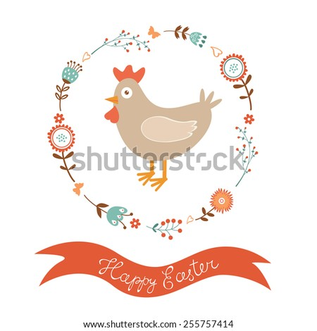 Cute Easter card with chicken in floral wreath. Vector illustration - stock vector
