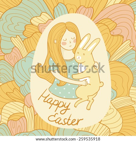 Cute easter card with rabbit and girl in love. Vector invitation.