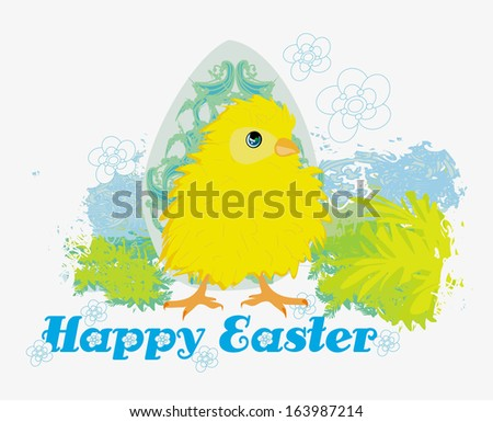 Cute Easter chick cartoon character,Happy Easter Card. - stock vector