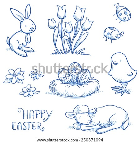 Cute easter icon and animal pet collection, with easter eggs in nest, tulip flowers, rabbit, lamb, chick and lady bugs. Hand drawn vector illustration. - stock vector