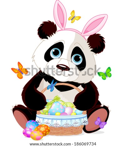Cute Easter Panda holding basket full of eggs - stock vector