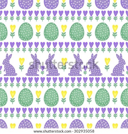 Cute Easter Pattern with Easter Bunny, Easter Eggs, plant and hearts on white background. Seamless Spring Holiday Background. Cute Easter Illustration. - stock vector