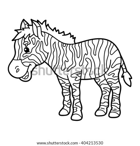 Great Cute Educational Kids Coloring Page Vector Of With Cartoon Zebra Drawing For