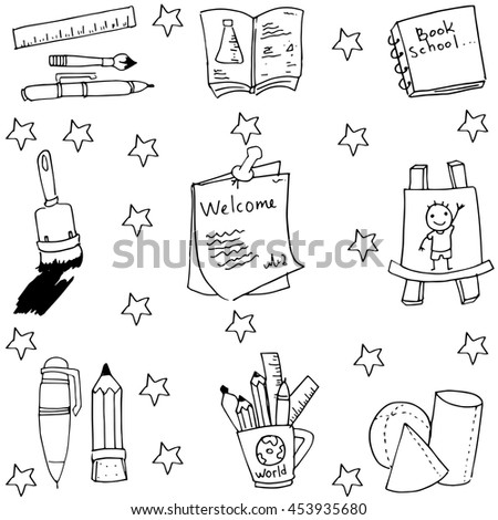 Cute element school in doodle vector art