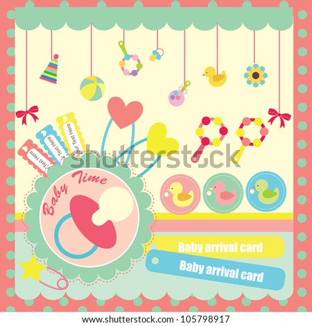 cute elements for baby scrapbook. vector illustration