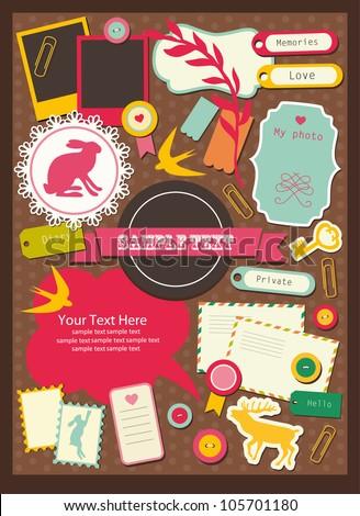 cute elements for scrapbooking. vector illustration - stock vector