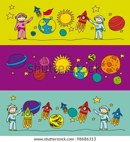 cute elements solar systems drawing. vector illustration