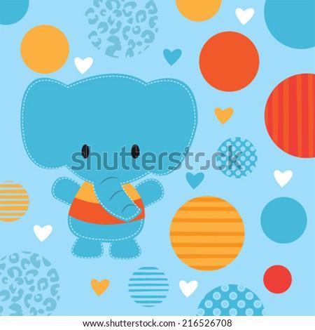 cute elephant baby shower card vector illustration - stock vector