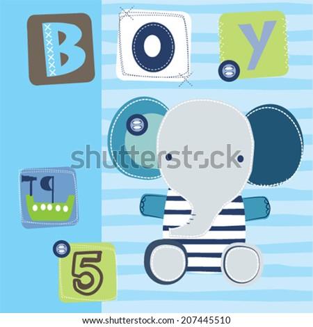 cute elephant boy vector illustration - stock vector