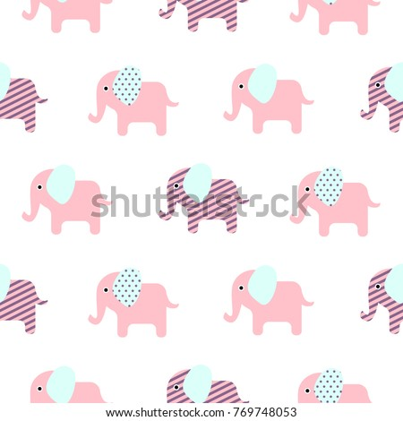 Cute Elephant Cartoon Baby Seamless Vector Pattern Funny Kid Animal Repeat Background For Textile And