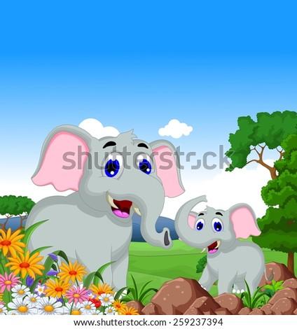 cute elephant cartoon in the jungle - stock vector