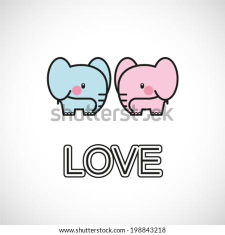 cute elephant in love. vector illustration - stock vector