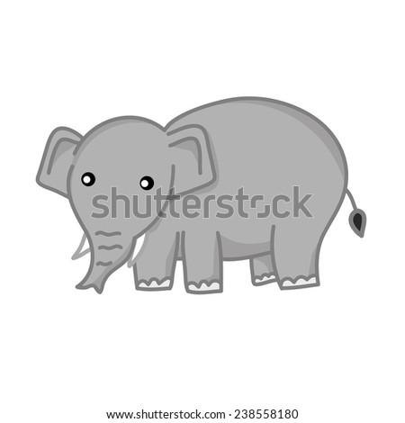 cute elephant isolated illustration on white background - stock vector