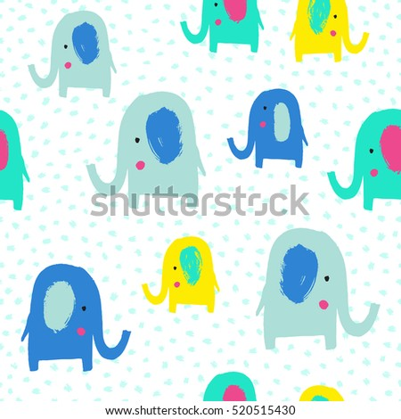 Cute elephant seamless pattern. Vector illustration. Kid cloth design, wallpaper, wrapping.