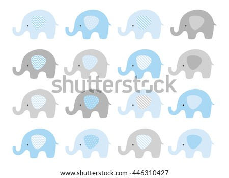 Cute elephant vector set. Vector elephants with patterned ears. Blue and Gray.