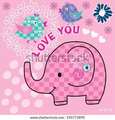 cute elephant with birds vector illustration - stock vector