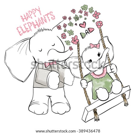 cute elephants / girl and dad - stock vector