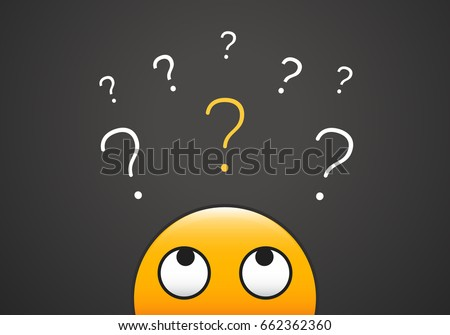 cute emoji looking up to stack of question marks vector illustration for learning curiosity