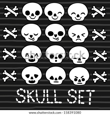 cute emotion skull set for Halloween design - stock vector