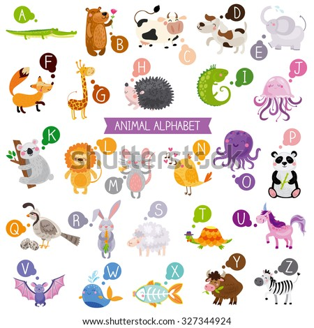 Cute english illustrated zoo alphabet with cute cartoon animals isolated on white background.. Vector illustration for kids education, foreign language study. - stock vector