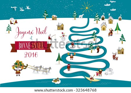 Cute eskimos characters celebrating Christmas and New Year 2016 holidays in little snowy village with a river in tree form. Text in French. - stock vector