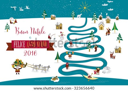 Cute eskimos characters celebrating Christmas and New Year 2016 holidays in little snowy village with a river in tree form. Text in Italian. - stock vector