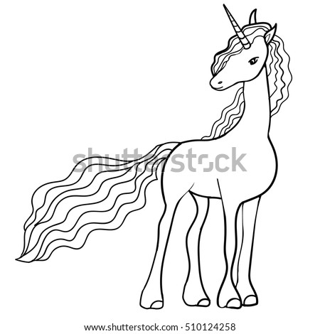 Cute fabulous unicorn with lush mane outlined for coloring book for kids Black and white vector illustration.