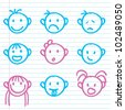 cute face icons for children, kids, buttons and others - stock vector