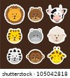 cute faces animals over brown background. vector illustration - stock vector