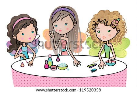 Cute fairies friends having a manicure party. - stock vector