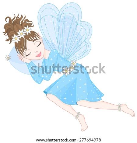 Cute fairy in blue dress with transparent wings is sleeping on pillow, vector illustration, eps 10 - stock vector